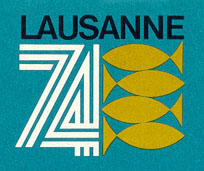 From the cover of the Lausanne 74 Program and Information booklet.  There is a copy in Collection 53, Box 3, Folder 6