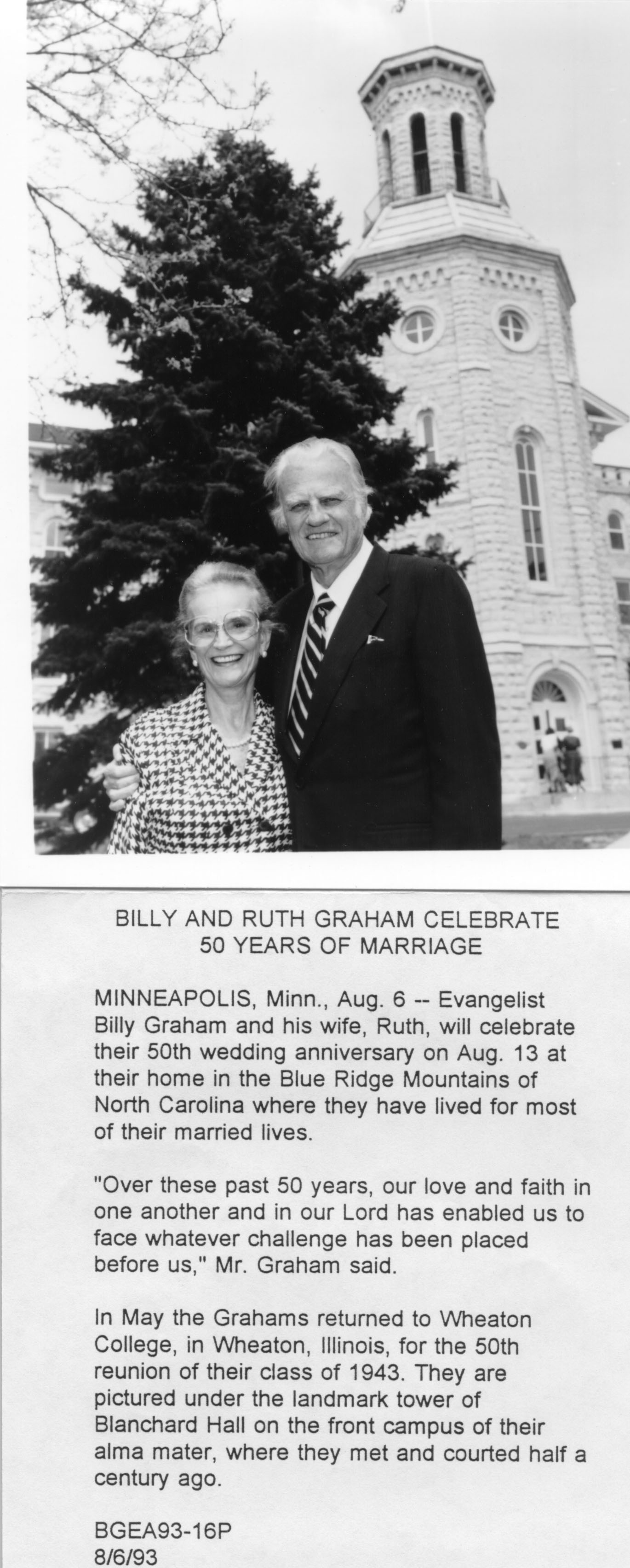 Photo File: Graham, William F. with Graham, Ruth