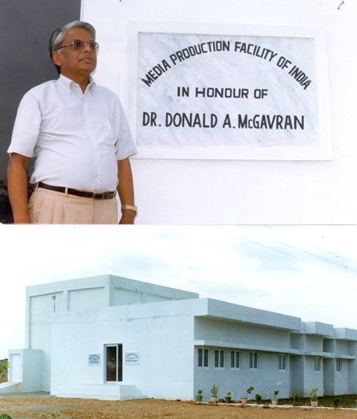 Photofile: <b>McGavran, Donald A.</b>  Dr. Vijai Lali in front of the building, ca. July 1989.